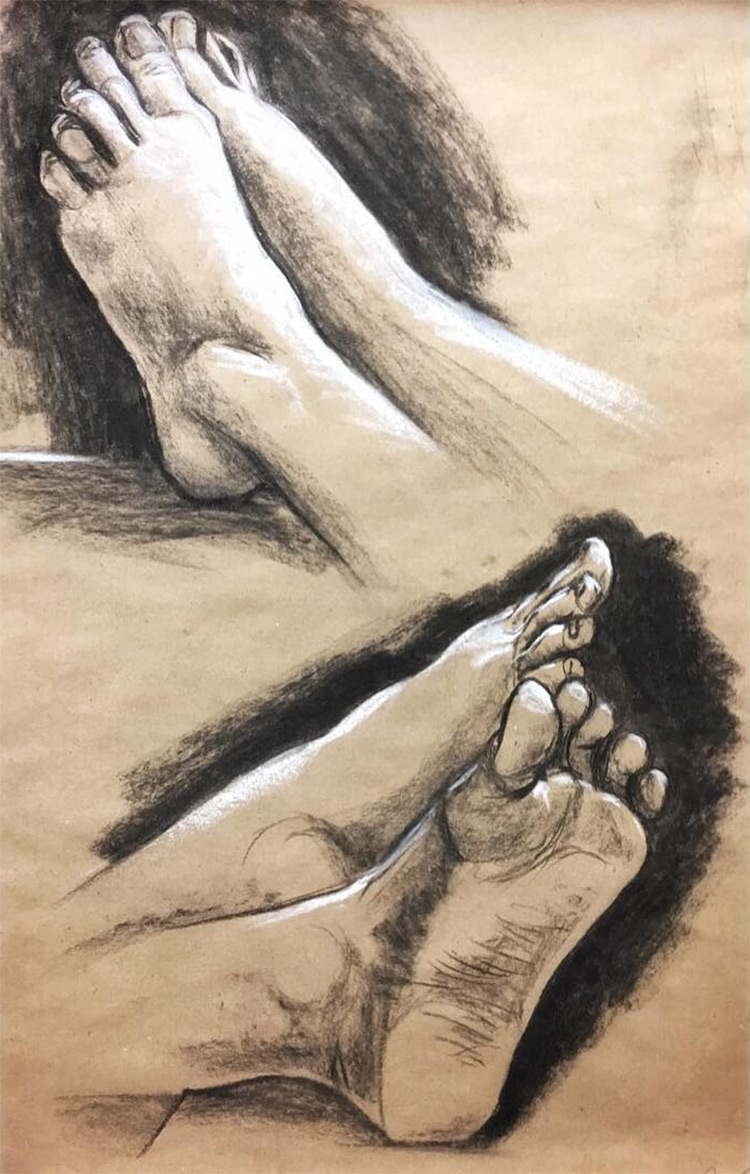 Fully rendered feet and toes drawings