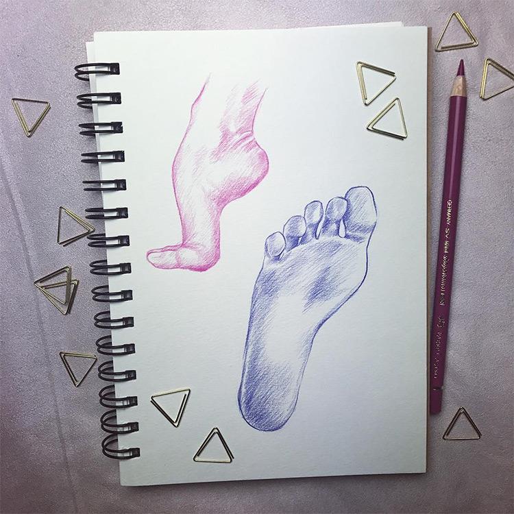Blue and pink feet drawings (underside)