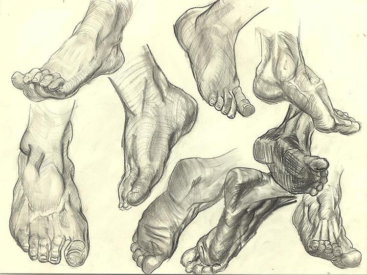 Realist drawings of feet