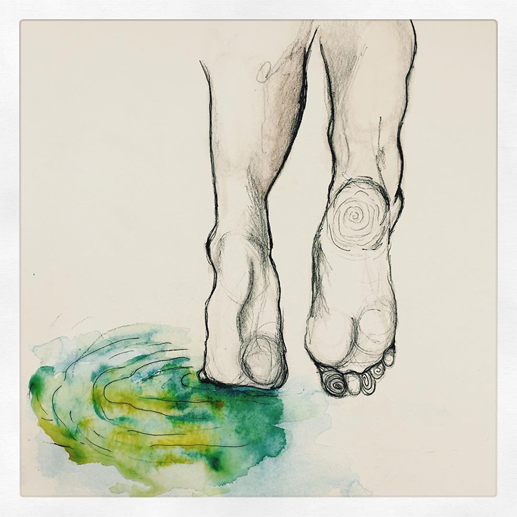 Foot drawing with watercolor
