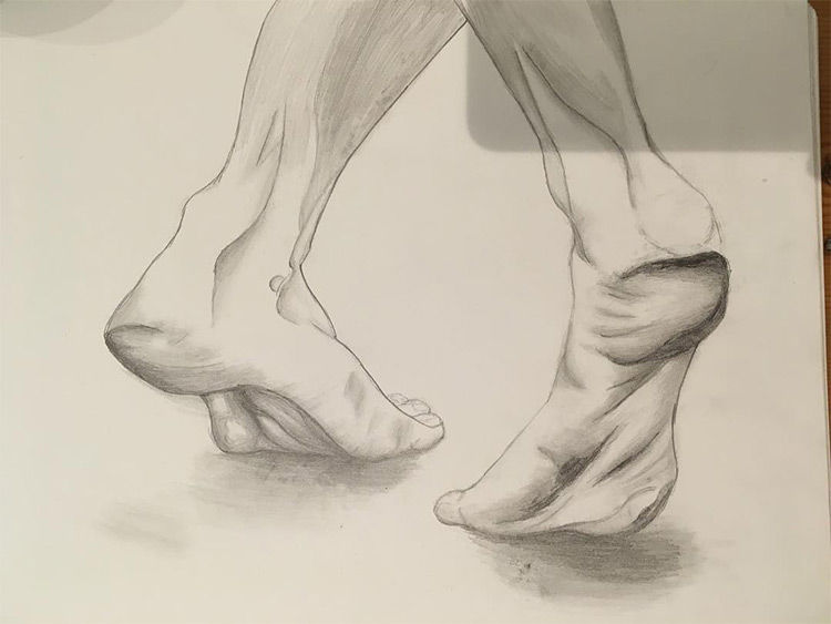Practice rendering feet standing on tippie toes