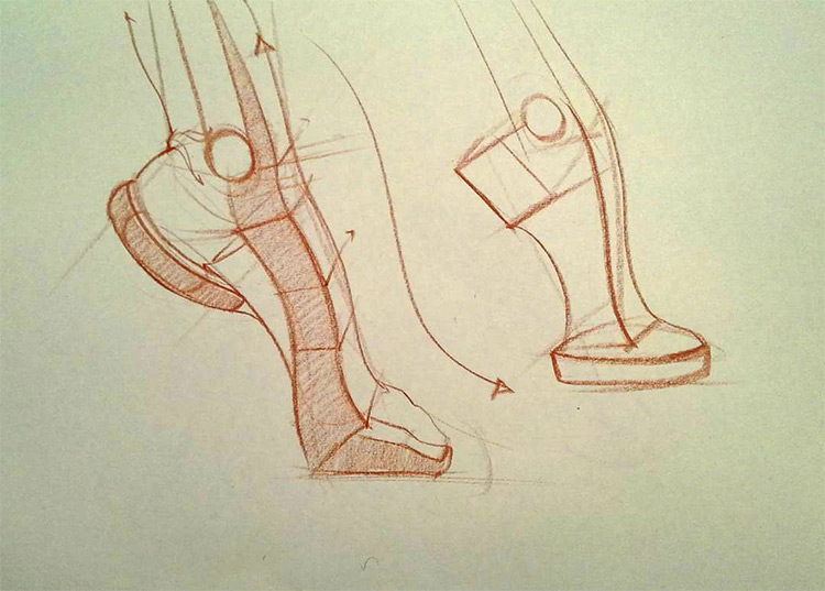 Foot flexion sketch for animation practice