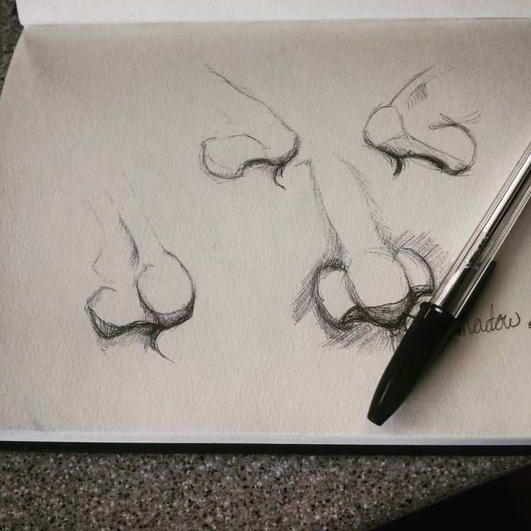 Dark mechanical pencil nose drawings