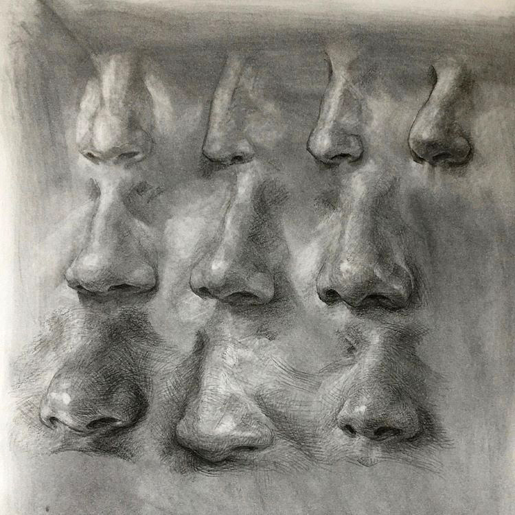 Deep shadows in nose drawings