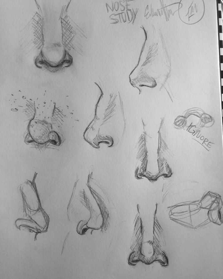 Dark paper nose sketches