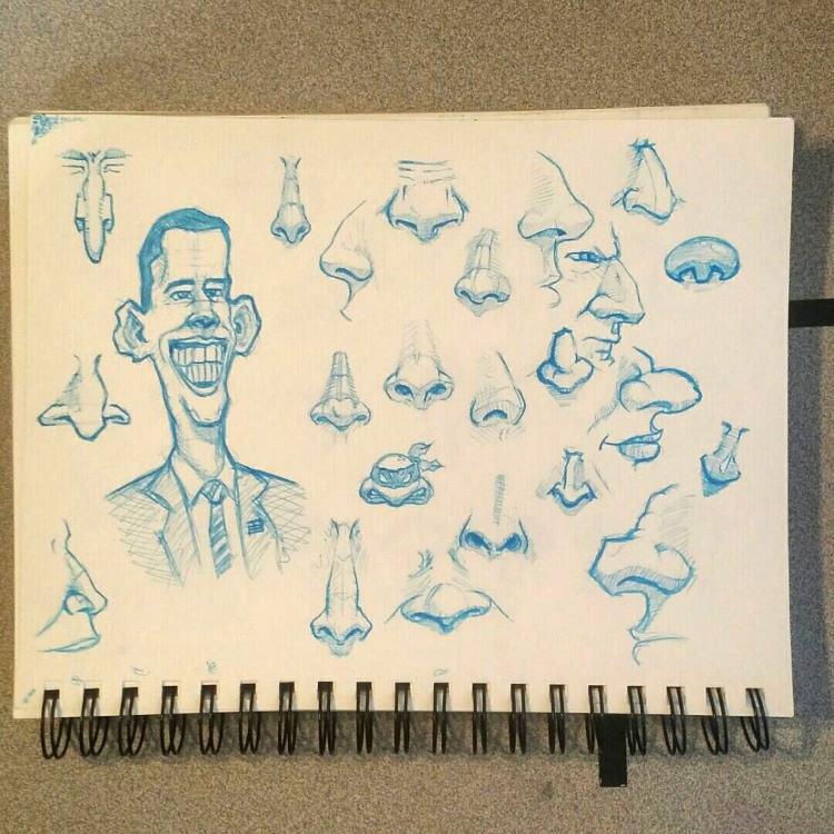 Cartoony noses drawn in blue pencil