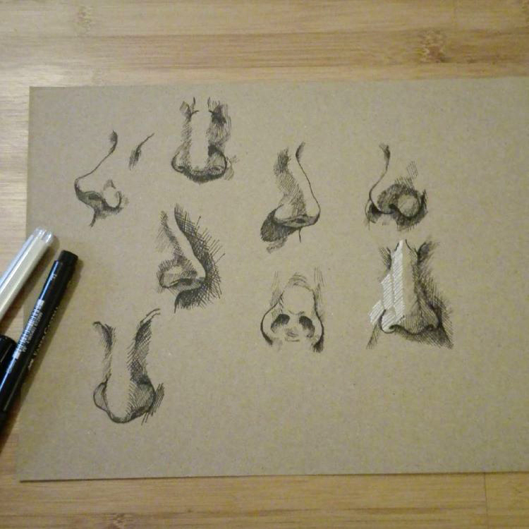 Light sketches on toned paper