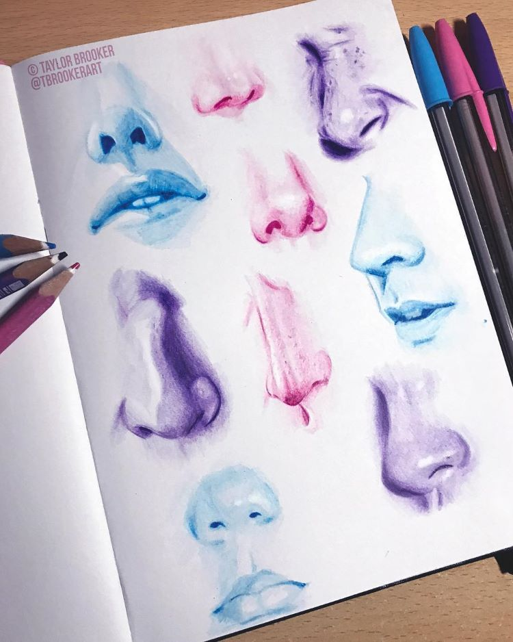 Colorful noses and philtrums sketchbook