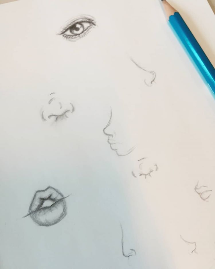 Human noses and lips drawn