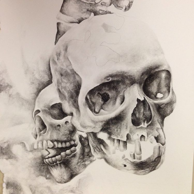 Clean skull drawings with charcoal