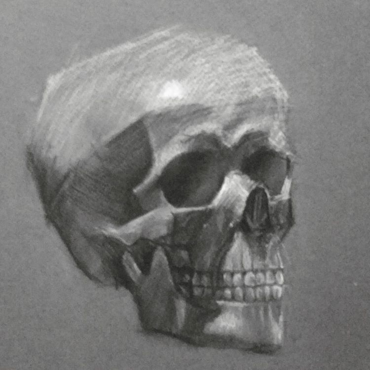 Dark skull with lighting