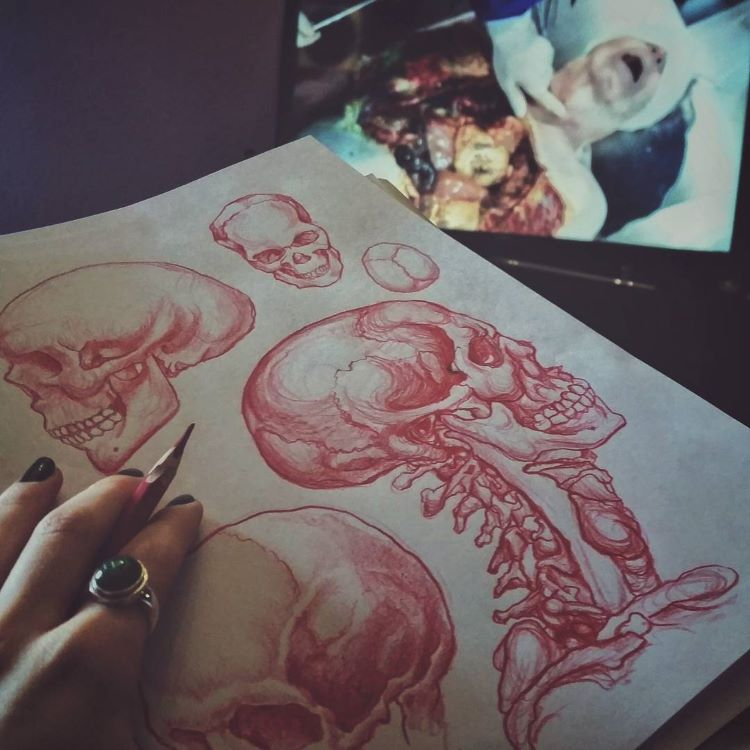Skull drawing in red pencil