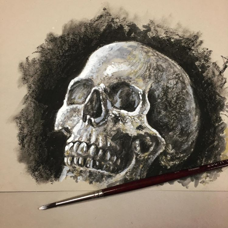 Human skull dark sketch