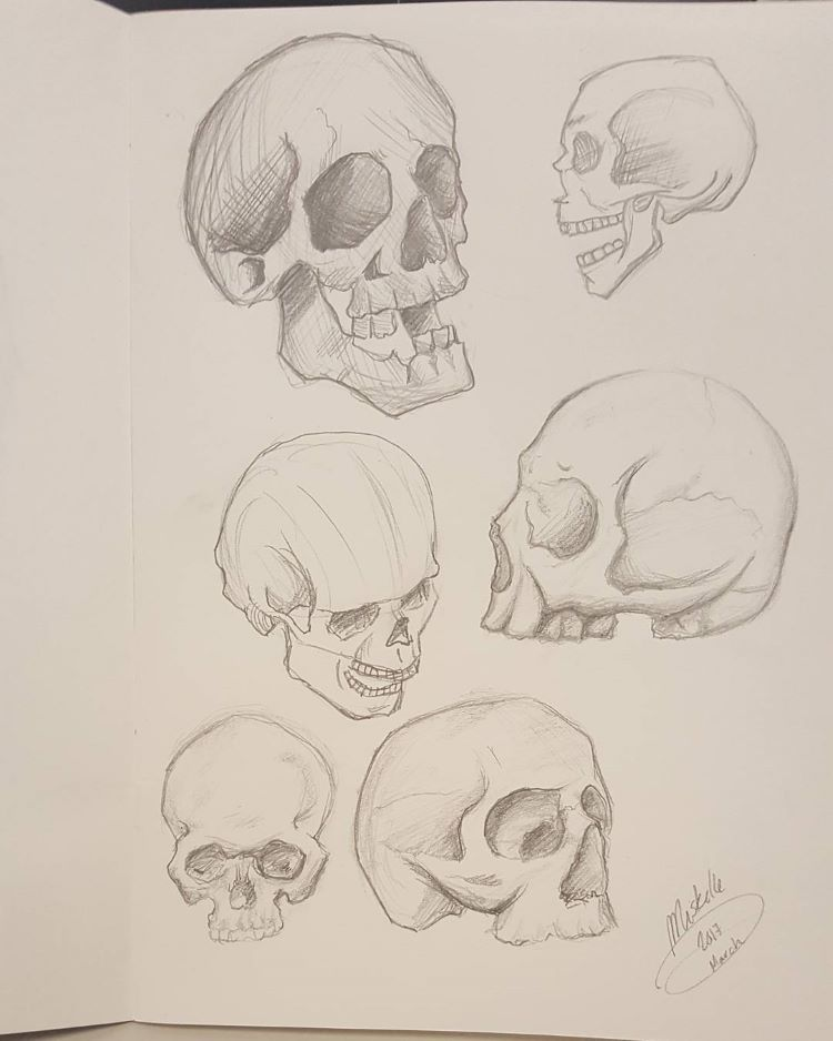 Quick and easy skull drawings