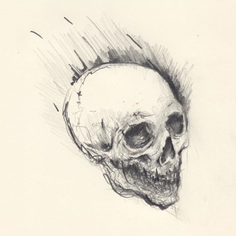 Overhead view of skull drawing