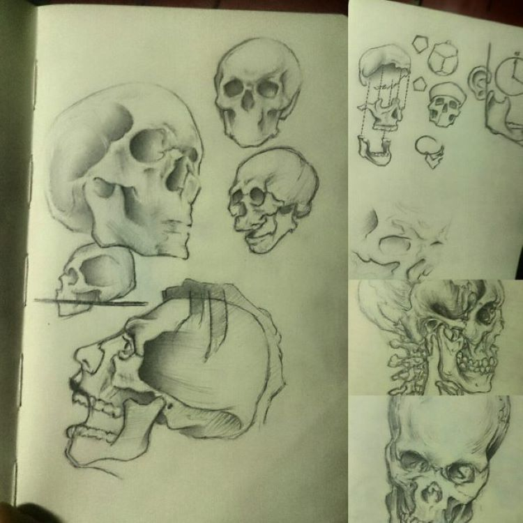 Super quick and easy skull drawings