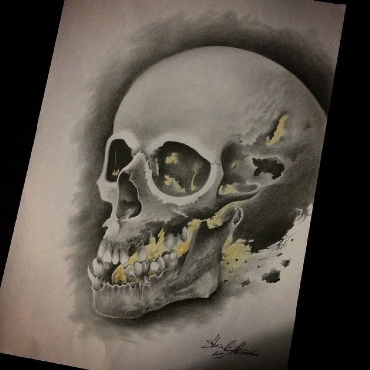 Skull drawing missing teeth