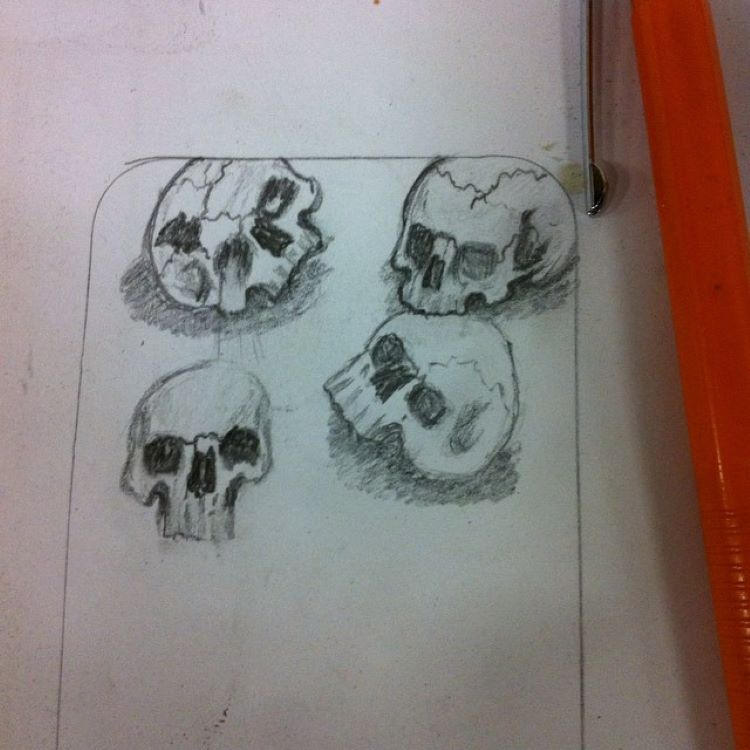 Quick sketches of skulls