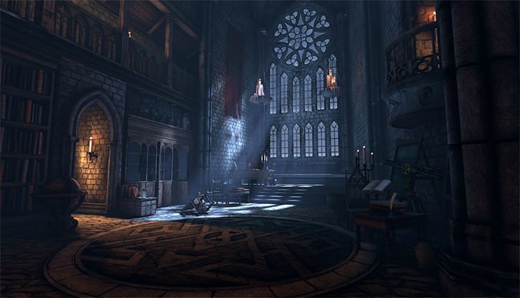 gothic interior library concept art