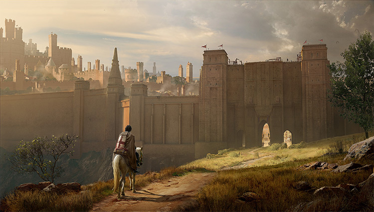 medieval city wall environment art