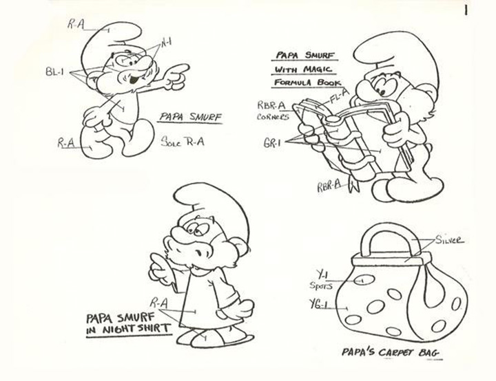 the smurfs 80s model sheet