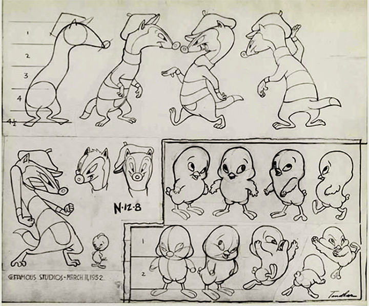 weasel chicken 1952 cartoon model sheet