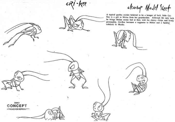 crikee from mulan model sheet