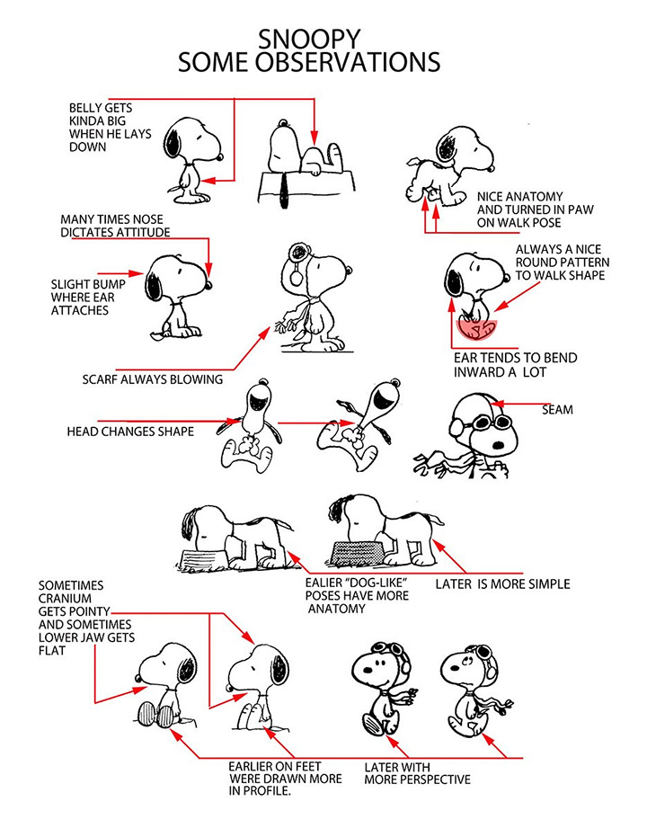 snoopy peanuts movie model sheet