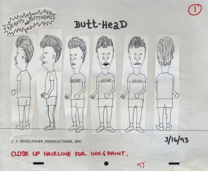 butthead beavis model sheet mtv