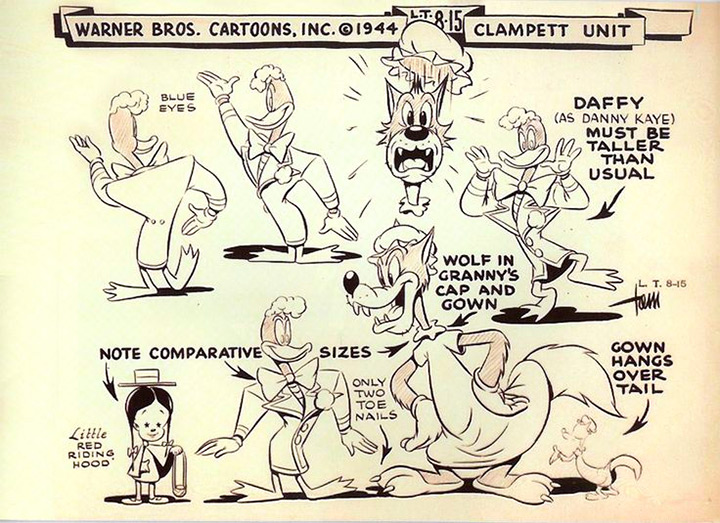 daffy wolf 1944 model sheet